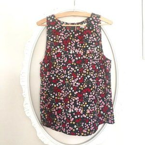 14th & Union navy spring dainty floral tank top